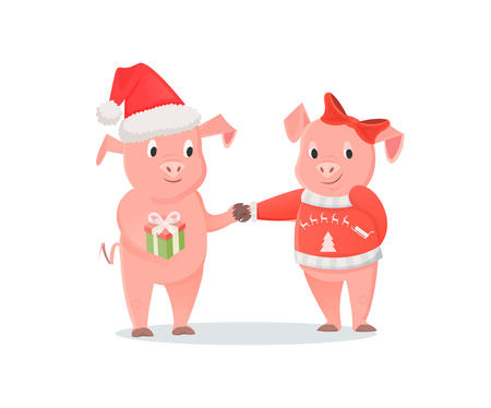 Male and Female Piglets, New Year or Christmas Illustration