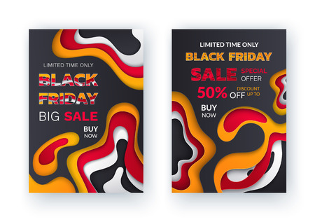 Black friday special discount, percent offer vector. Limited time, reduction half of price, autumn sellout shops. Clearance deal, seasonal bargain. Banners