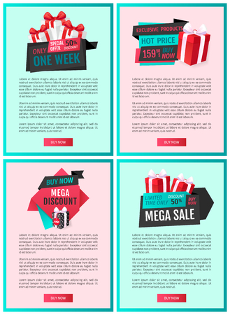 Exclusive products sellout up 50 percent reduction of price, discount label with presents web page template vector. Premium gifts and special offers Illusztráció