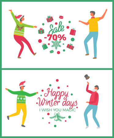 Christmas sale seventy percent price reduction vector. People dancing celebrating new year approaching, good shops deals and market proposition offers Illusztráció