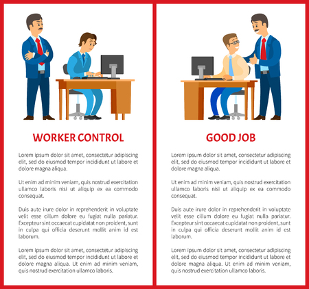 Working control and good job posters. Boss giving work task, praise for results. Company leader supervising new office worker vector. Director pleased with work Çizim