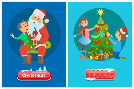Christmas push buttons and vector cartoon Santa Claus listening to boys wishes and family father and daughter decorating pine tree with garlands on round backdrops Illustration