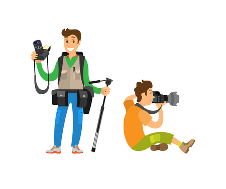 Photographer freelancer men taking pictures, vector characters, flashlight shooting equipment. Paparazzi journalist making photos on professional cameras.  イラスト・ベクター素材