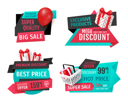 Discount Labels with Promo Prices Vector Templates 일러스트