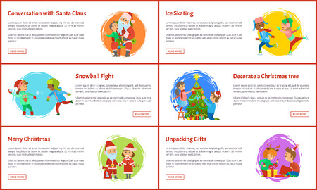 Merry Christmas wishes, Santa Claus and Snow Maiden, children unpacking gifts, snowball fights and ice skating, conversation vector web pages, text