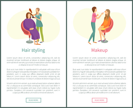 Hair styling and makeup web posters set, text. Woman making new hairstyle, wavy hair, face beautification. Spa salon visagiste and hairdresser vector Illustration