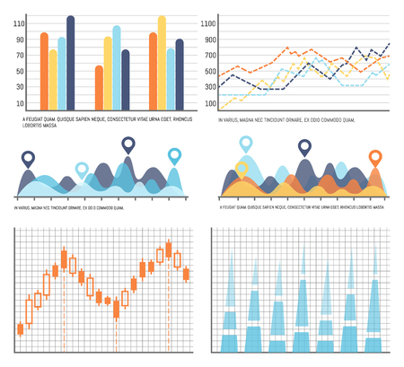 Flowcharts, business diagrams and charts info vector. Editable data of analysis and statistics of project. Numeric information with schemes and scales