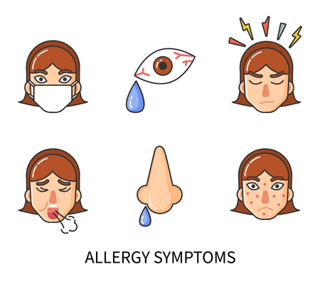 Allergy symptoms of person suffering from pain isolated icons set vector. Runny nose, rash face skin, anger and cough, tear drop. Sensitivity of body
