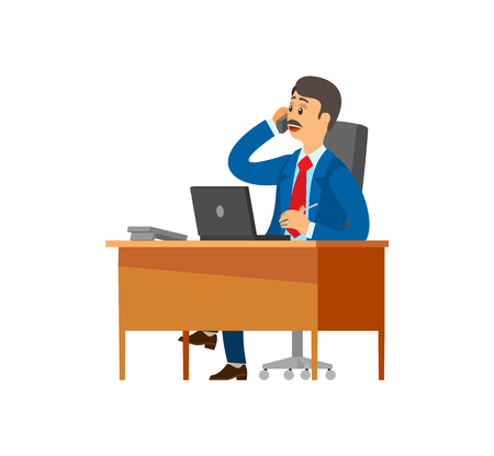 Boss, chief executive talking on mobile phone with partners discussing problems vector. Leader sitting in office chair, director at workplace employer Illusztráció
