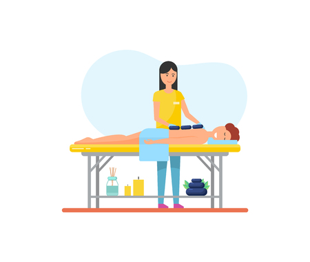 Massage using hot stones technique with heat methods. Masseuse and male client relaxing on table, isolated icon, treatment of patient lotions vector Illustration