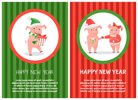 Congratulations card new 2019 year of piggy. Boy in red hat sanding present to girl with big bow and warm jersey. Pig standing with gift box vector