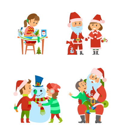 Santa Claus and helper, children on winter holidays vector. Christmas characters with presents in sack, girl making handicraft gifts. Boy telling wish