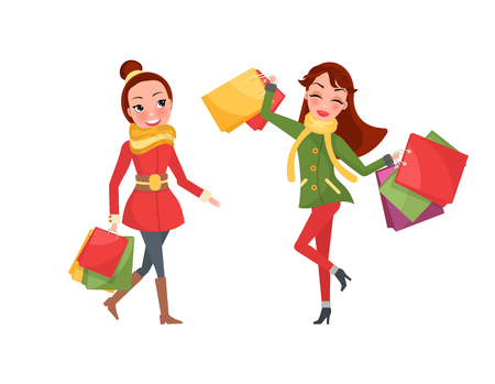 Christmas shopping women day. Two smiling and happy ladies with brunette hair, with colored packages, red and green coaches with yellow scarf vector Illustration