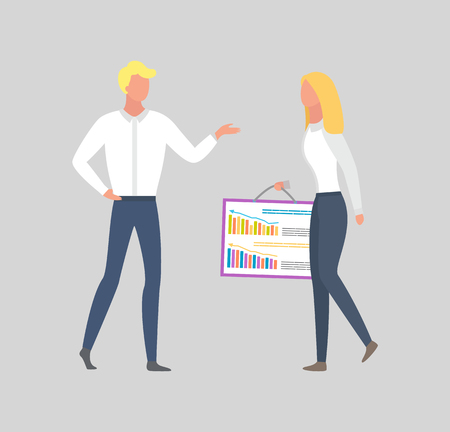 Woman holding board with charts and graphs and man giving advices, business people achieving agreement at meeting. Professional collaboration at work, vector Illustration