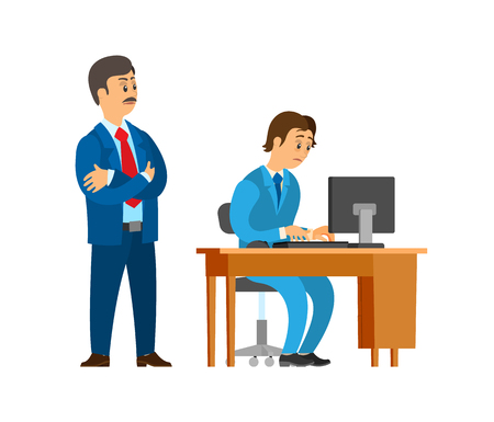 Boss company leader supervising new office worker vector. Director dissatisfied with novice working on personal computer. Unsure new employed person