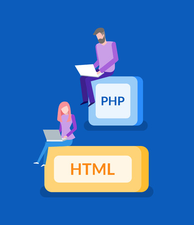 PHP and HTML, programmer work, IT technologies. Man and woman with laptop, digital space, modern company employees, device or gadget vector illustration