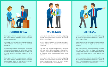 Job interview, work task and dismissal vector poster. Boss interviewing young woman on position of executive. Human resource manager and worker hiring
