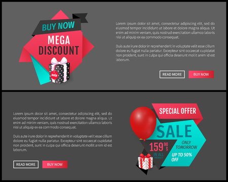 Special offer only tomorrow, buy now mega sale web page vector. Premium present, natural products, good deal of shop and customer. Clearance proposal