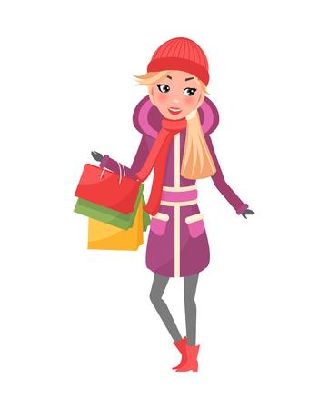 Woman in Purple Winter Coat with Packages in Hands Standard-Bild - 113721272