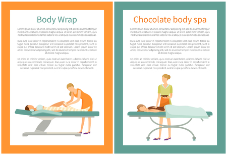 Body Chocolate Spa and Wrap of Legs, Women Vector Illustration