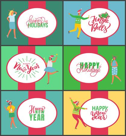 Jingle bells poster di celebrazione di buon anno e buon Natale su sfondo multicolore. Persone con champagne che bevono alcolici e ballano. Festa divertente di uomo e donna