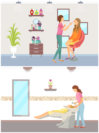 Spa salon, hair wash of client done by beauty expert. Cosmetician making makeup on females face. Styling new haircut hairstyle vector spa salon interior Standard-Bild - 126844352