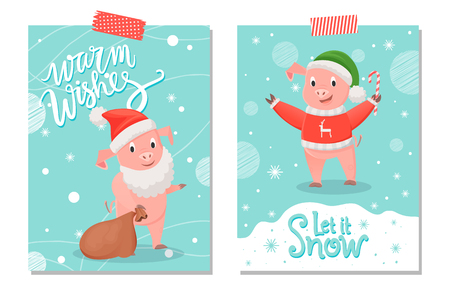 Let it Snow and Warm Wishes Postcards, Pig Animal