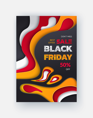 Special promo card with half price discount on Black Friday sale. Best offer, 50 percent price off leaflet with 3D backdrop in flat style, vector retail tag
