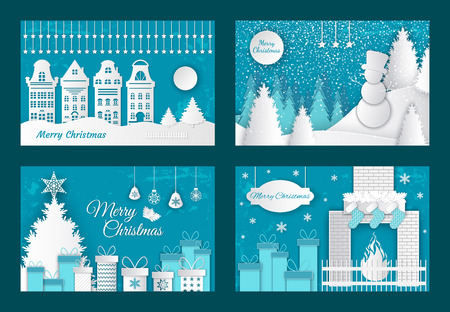 Merry Christmas paper cuts, decorated pine tree with gifts vector. Old town with buildings, fireplace with sock for presents. Snowman in winter wood