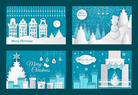 Tagli di carta di buon Natale, albero di pino decorato con vettore di regali. Centro storico con edifici, camino con calzino per regali. Pupazzo di neve nel bosco d'inverno
