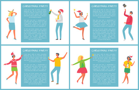 Christmas party, happy people dancing together posters with text sample. Women and men coworkers celebrating New Year and Xmas, in Santa Claus hat vector
