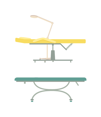 Empty table for spa procedure and massage cartoon set vector isolated emblems. Modern comfortable equipment with amenity for clinic and beauty salon