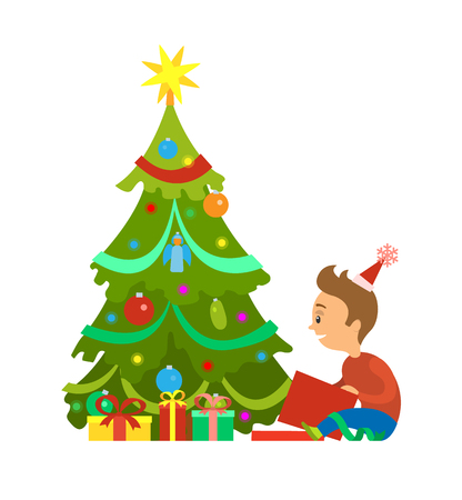Merry Christmas postcard boy unpacking gifts under New Year tree, decorated spruce with balls and gift boxes, wrapped in paper, vector isolated on white