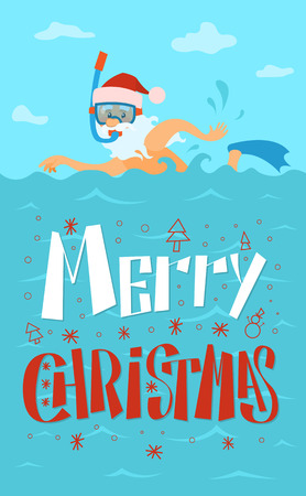 Merry Christmas, Santa Claus Swimming, Diving Mask Illustration