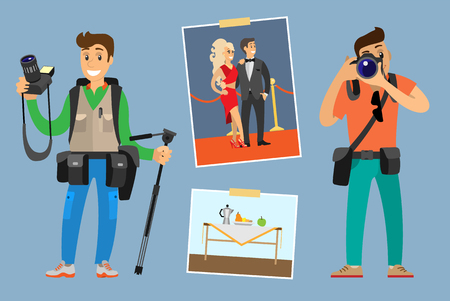 Photographers with digital cameras or photo equipment. Guy holding tripod, setting lens, celebrities couple, still life picture vector illustration. Illustration