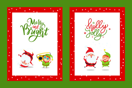Merry and Bright cards with cartoon characters. Santa Claus and Elf listening music on boombox and dancing break dance vector greeting postcards design Illustration