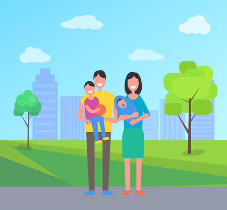 Family people in city park. Mother with newborn kid and pacifier, father holding little boy son with basketball ball. Spouses smiling in town vector Standard-Bild - 126844379