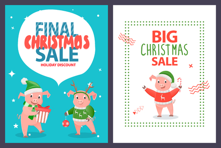 Final Christmas sale leaflet funny cartoon piglets. Vector smiling pigs with New year ball decoration element, gift boxes with present and candy stick Illustration