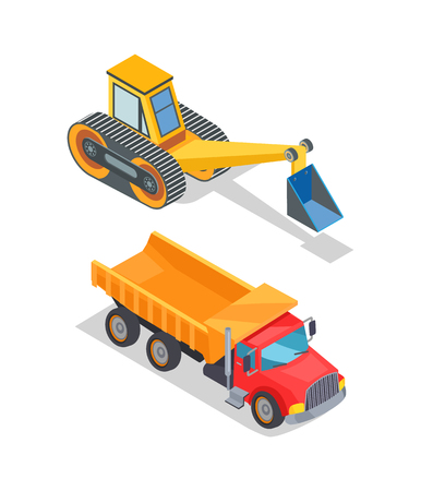 Excavator and truck with empty loading container vector. Industrial and transportation machinery, equipment with shovel and bucket, bulldozer loader Illustration