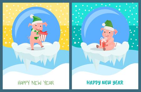 Happy New Year, Pig Wearing Santa Claus Hat Set