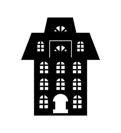 Kerstpapier gesneden zwarte vakantiegebouw Vector Vector Illustratie