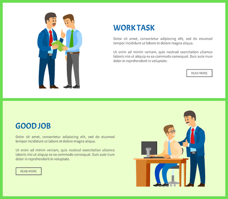 Work task and good job, company leader supervising new office worker vector. Director pleased with work of employee, praising and encouraging him