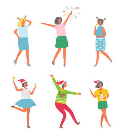Christmas party, people celebrating New Years eve, reindeer and snowman prints vector. Woman company disco entertainment. Female with bengal light 일러스트