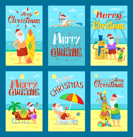 Collection of Merry Christmas postcards holiday. Santa have rest on beach with monkey and snowman, swimming and standing with phone and surfboard vector Çizim