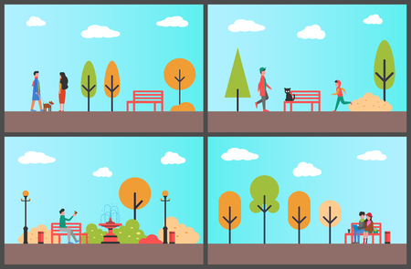 Man resting on bench of autumn park on sunny day vector. Outdoors fun people, fall season relaxation in wood. Teenagers and children with cat and dog