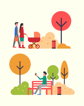 People walking in autumn park, family with newborn baby in pram vector. Father and mother pulling perambulator, man playing with bird sitting on hand