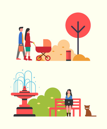 People walking in autumn park with perambulator vector. Woman freelancer busy work sitting on bench by fountain with pet dog. Fall season relaxation
