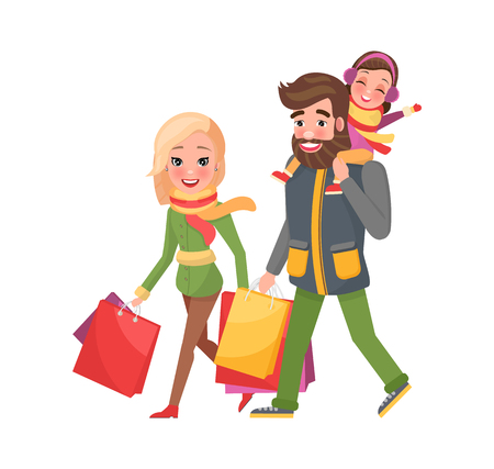 Happy family mother, father, daughter returns from shopping. Couple and children with bags full of presents, gift boxes vector. Christmas holidays celebration Vettoriali