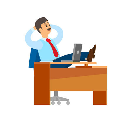 Boss worker of company having break at workplace vector. Chief executive businessman wearing formal wear tie, relaxing by table with personal computer