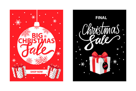 Christmas sale, shop now leaflet with lettering, New Year decorative ball, snowflakes and gift boxes vector. Black night sky with stars and box, price tag